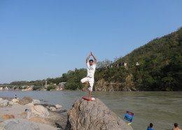 Early morning Yoga pose, Rishikesh