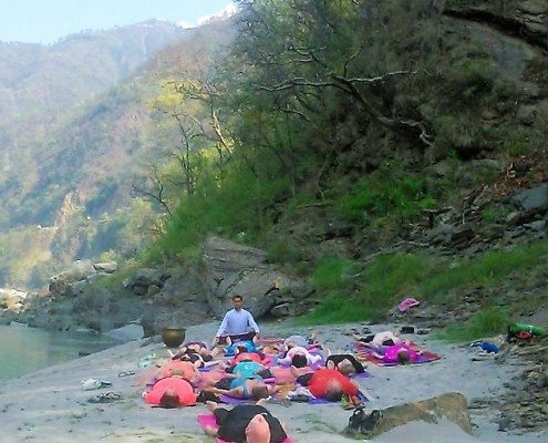 yoga on the banks of ganges